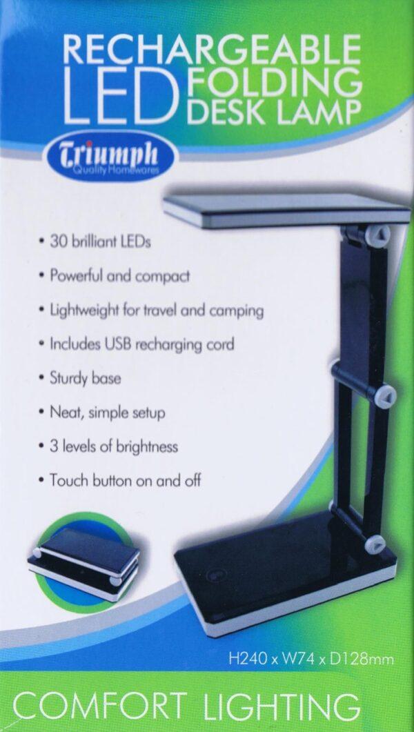 Rechargeable Folding LED Lamp - Black